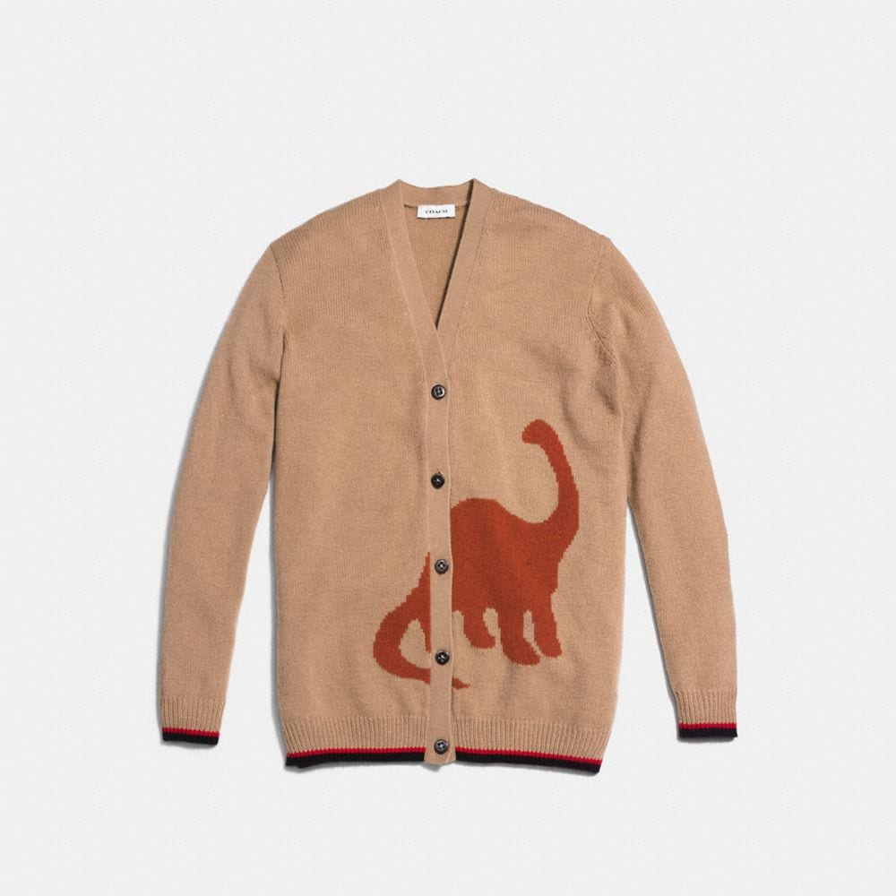 Coach Long Sleeve Cardigan With Dino Alternate View 1
