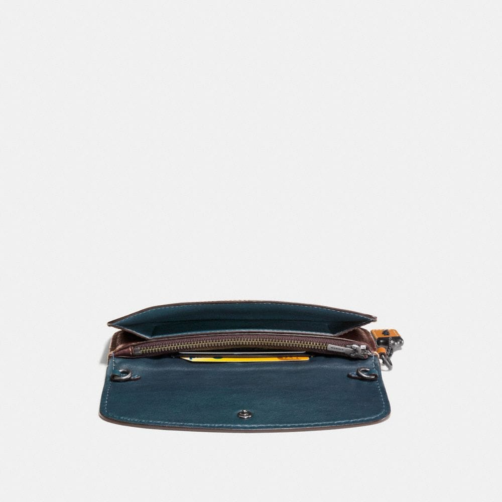 Colorblock Snake Handle Clutch in Glovetanned Leather - Alternate View A1
