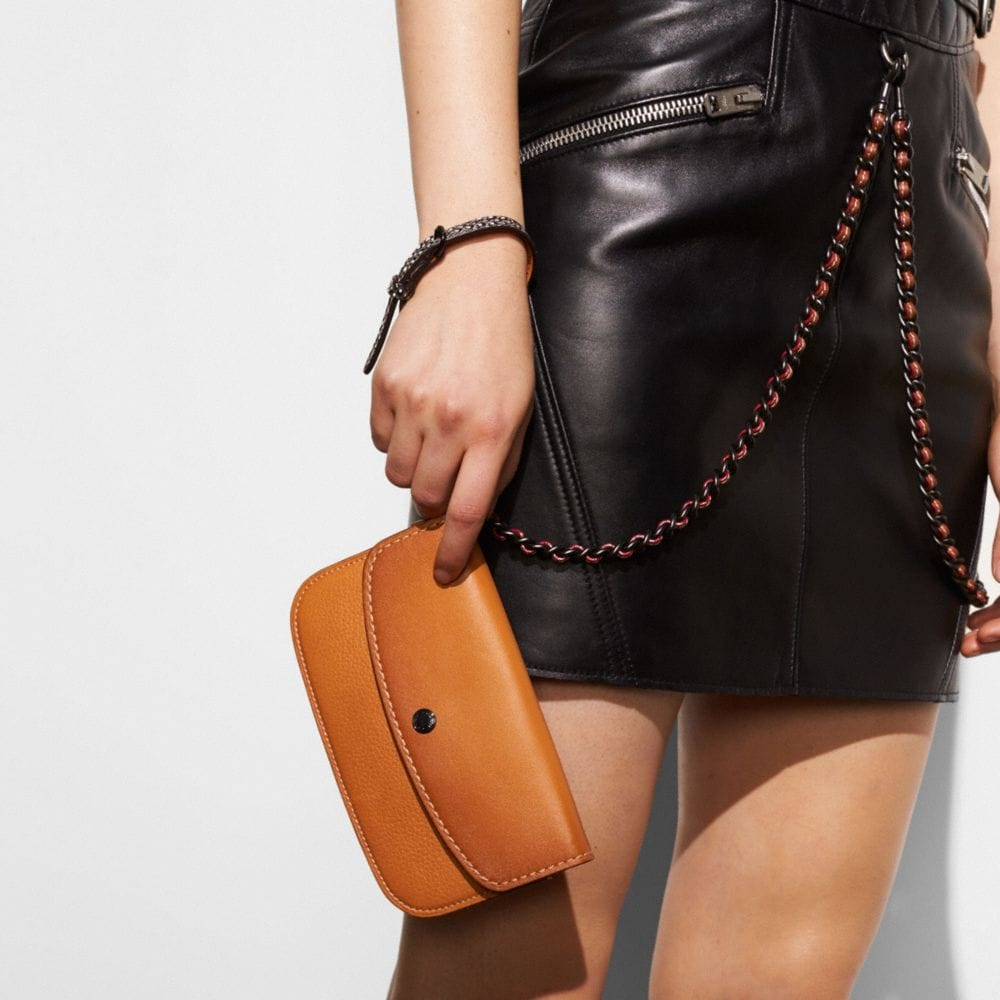 Colorblock Snake Handle Clutch in Glovetanned Leather - Alternate View A2