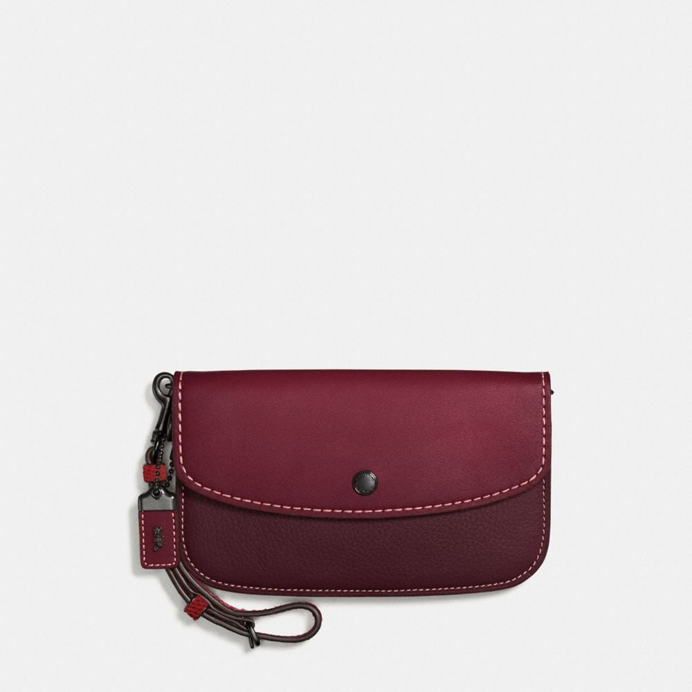Coach Clutch With Colorblock Snakeskin Handle