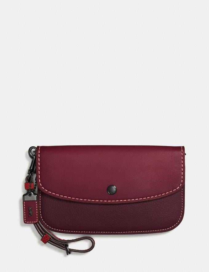 Coach Colorblock Snake Handle Clutch in Glovetanned Leather Black Copper/Bordeaux Femme Petits articles de maroquinerie