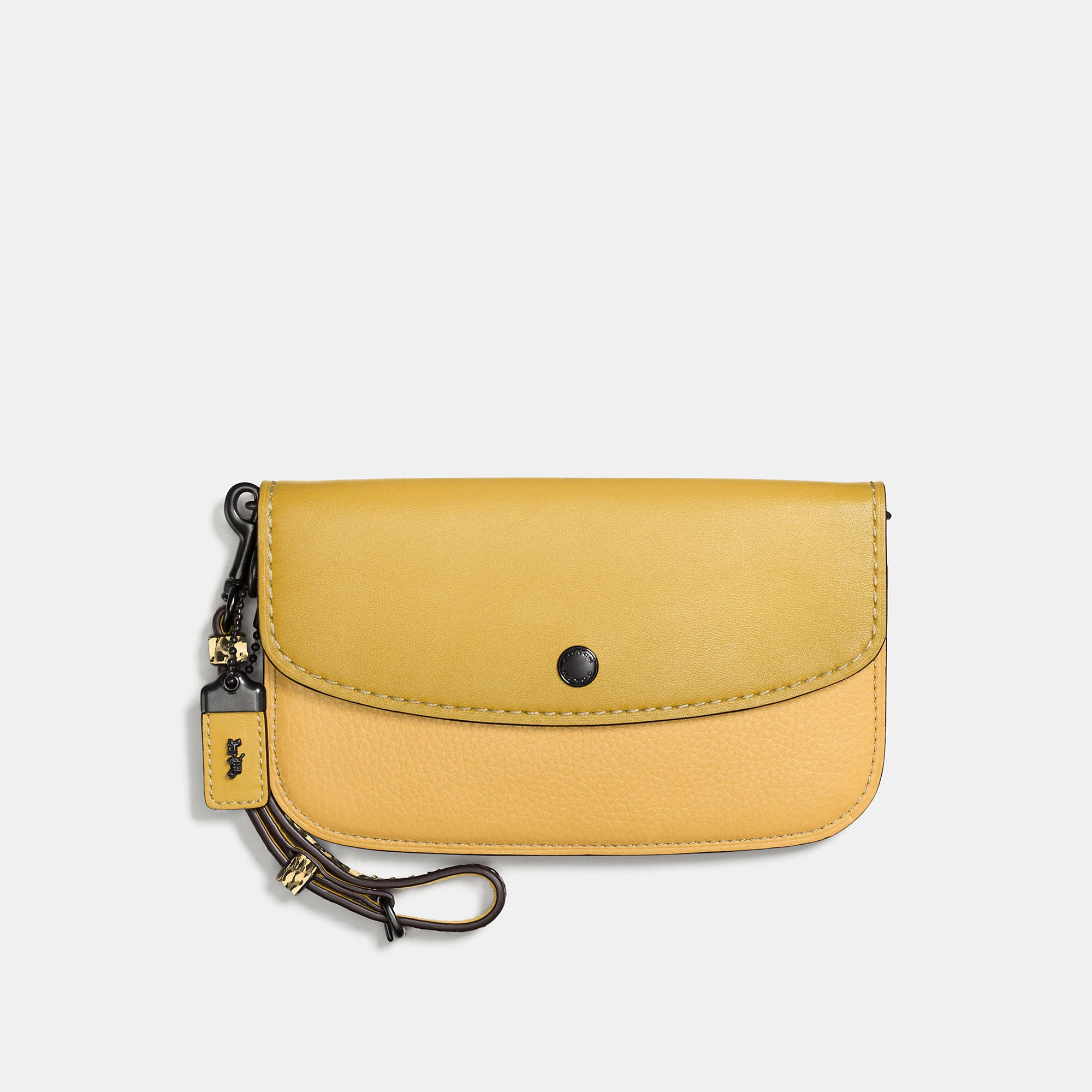 Coach Colorblock Snake Handle Clutch In Glovetanned Leather