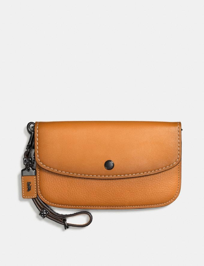 Coach Colorblock Snake Handle Clutch in Glovetanned Leather Black Copper/Butterscotch VENTE PRIVÉE Soldes Femmes Sacs