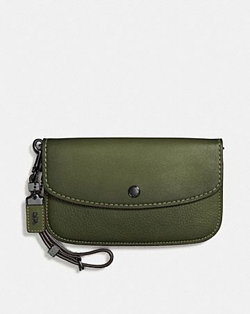 COLORBLOCK SNAKE HANDLE CLUTCH IN GLOVETANNED LEATHER