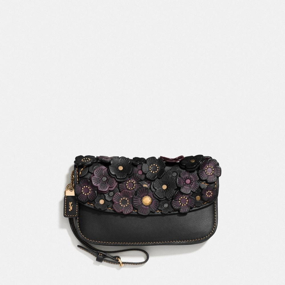 Coach Clutch With Tea Rose