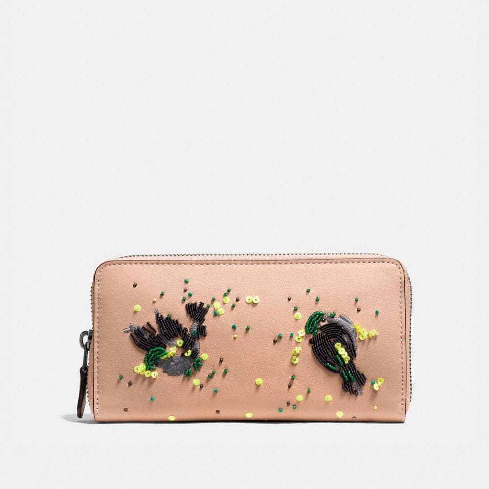 Coach Accordion Zip Wallet in Glovetanned Leather With Meadowlark Embellishment