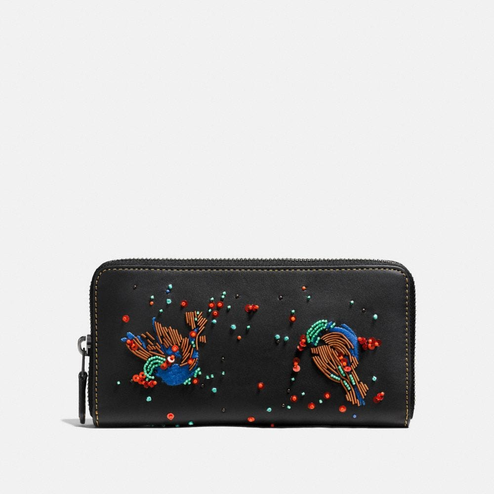 ACCORDION ZIP WALLET IN GLOVETANNED LEATHER WITH MEADOWLARK EMBELLISHMENT