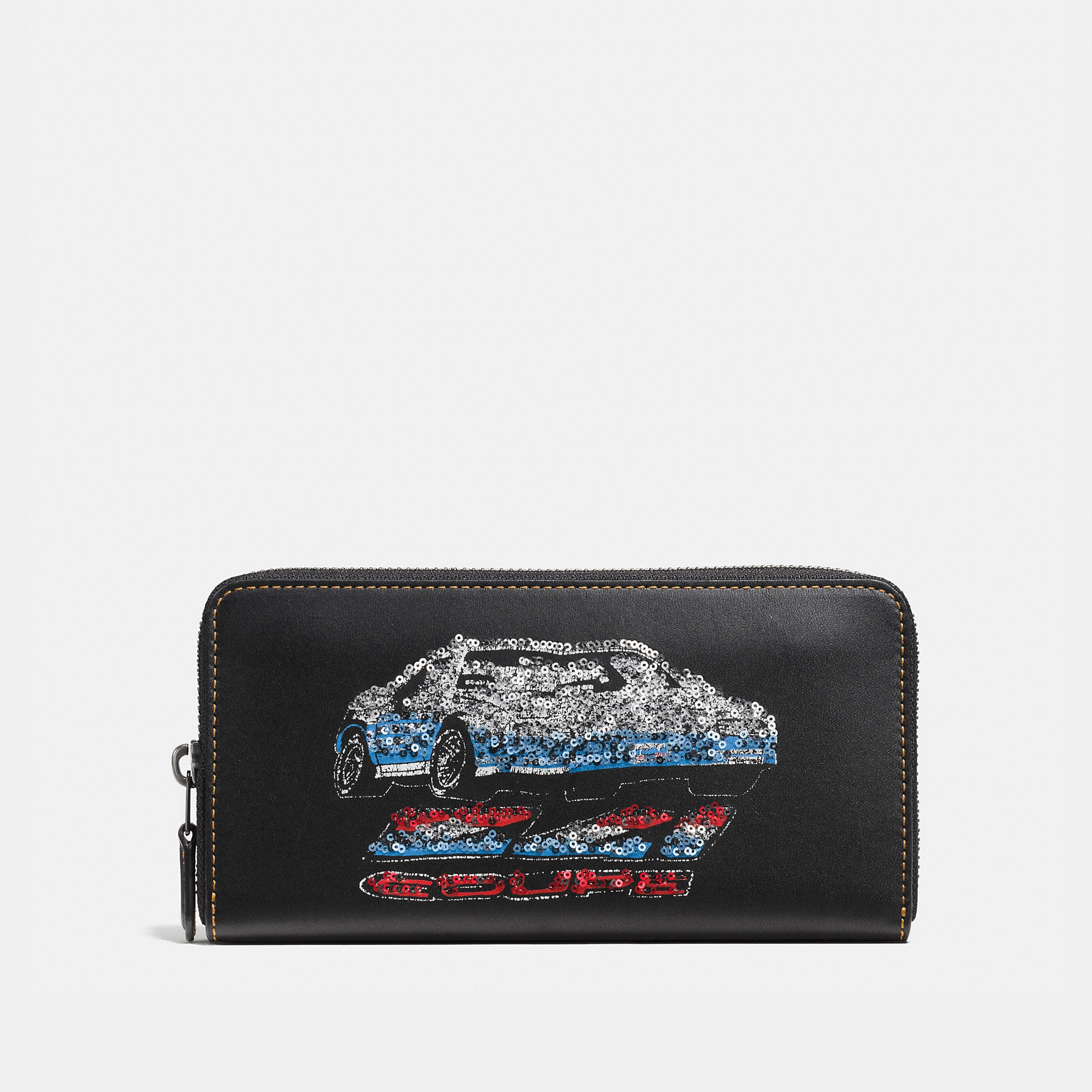 Coach Accordion Zip Wallet In Glovetanned Leather With Car Embellishment