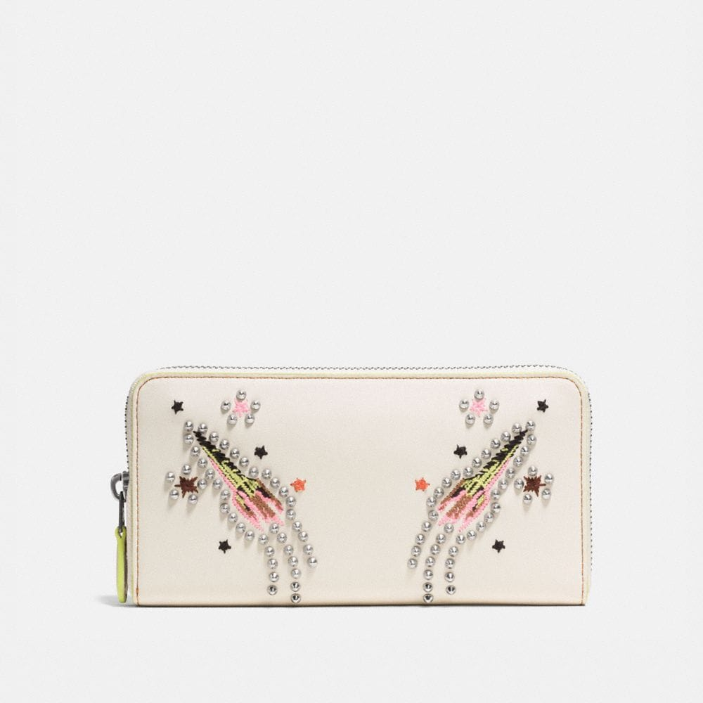 ACCORDION ZIP WALLET IN GLOVETANNED LEATHER WITH ROCKET EMBELLISHMENT