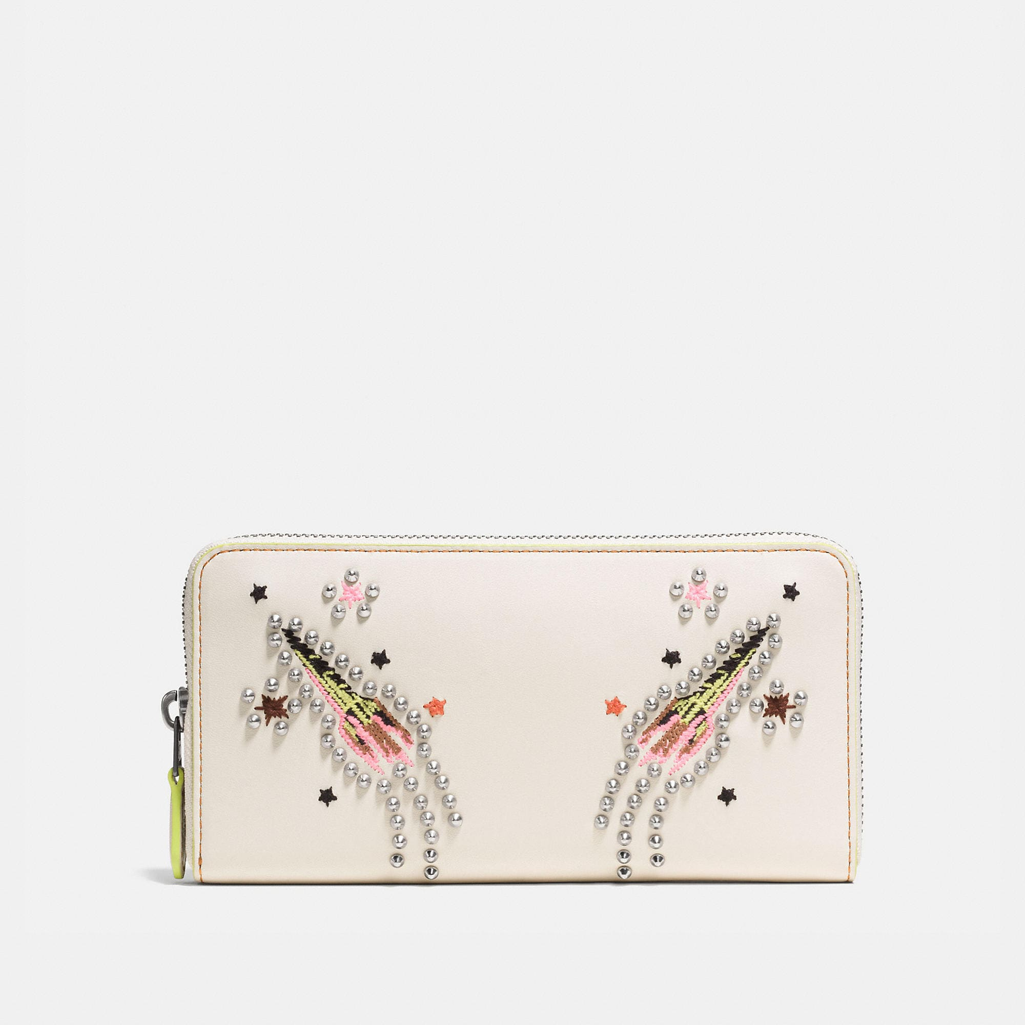 Coach Accordion Zip Wallet In Glovetanned Leather With Rocket Embellishment