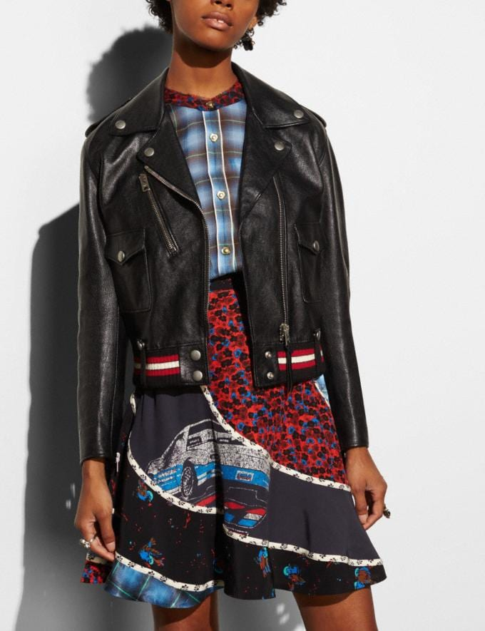 Coach Fringed Moto Jacket Black CYBER MONDAY SALE Women's Sale 50 Percent Off