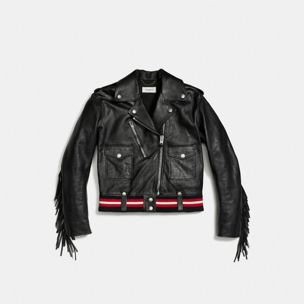 Coach Fringed Moto Jacket Alternate View 1