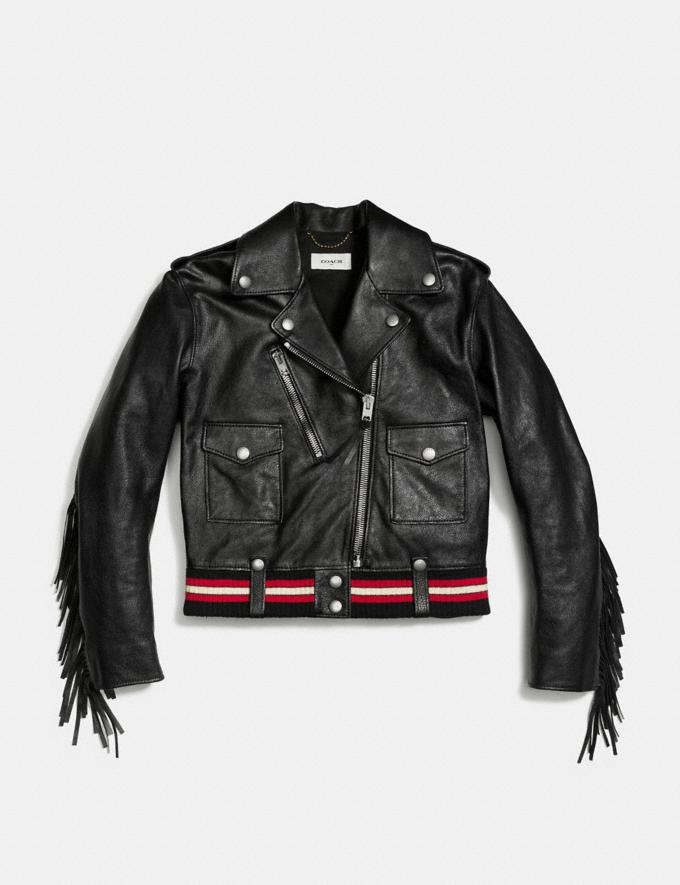 Coach Fringed Moto Jacket Black CYBER MONDAY SALE Women's Sale Ready-to-Wear Alternate View 1