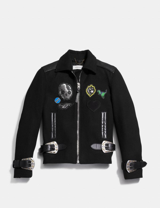 Coach Western Buckle Moto Jacket Black  Alternate View 1