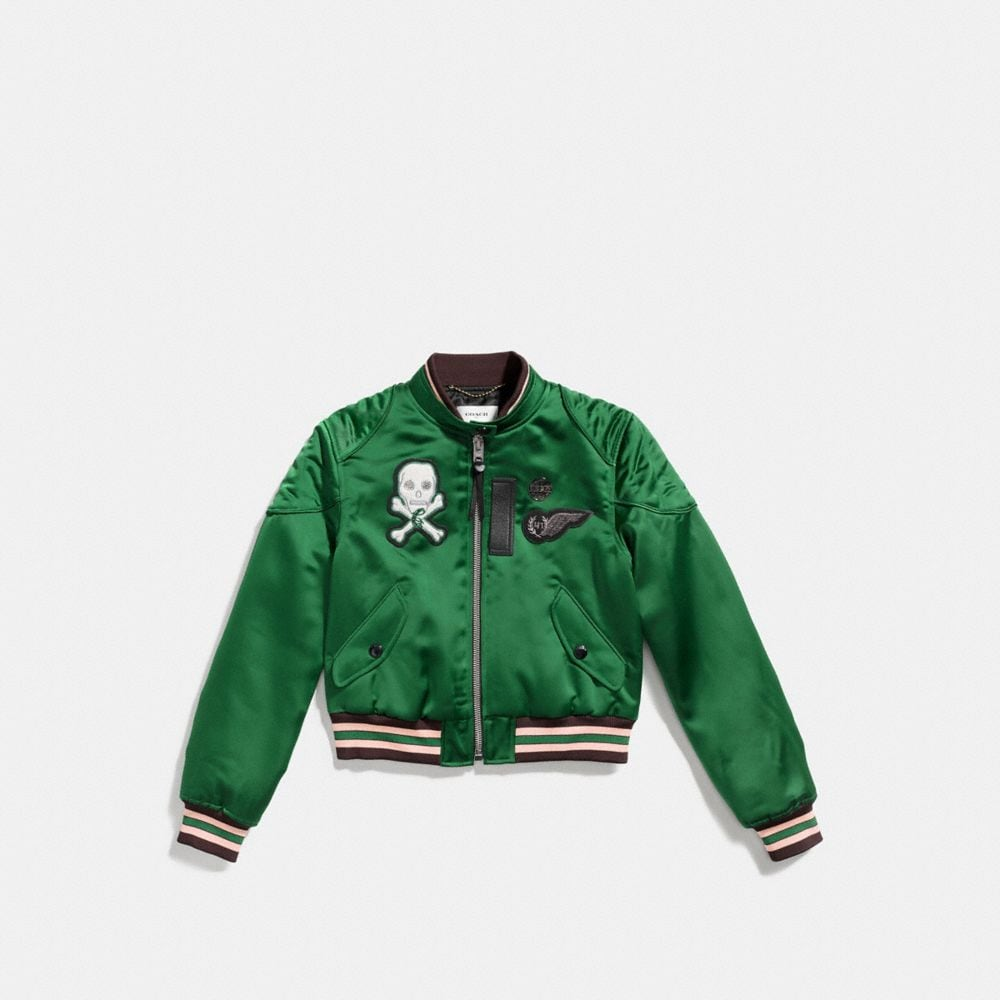 Coach Satin Cropped Varsity Jacket Alternate View 1