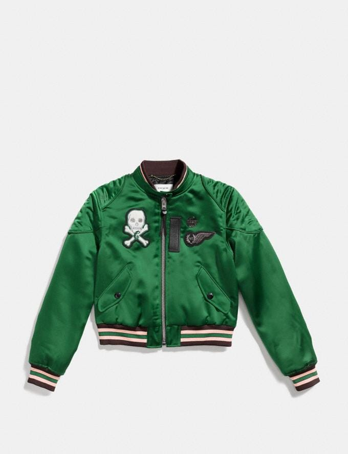 Coach Satin Cropped Varsity Jacket Cypress  Alternate View 1