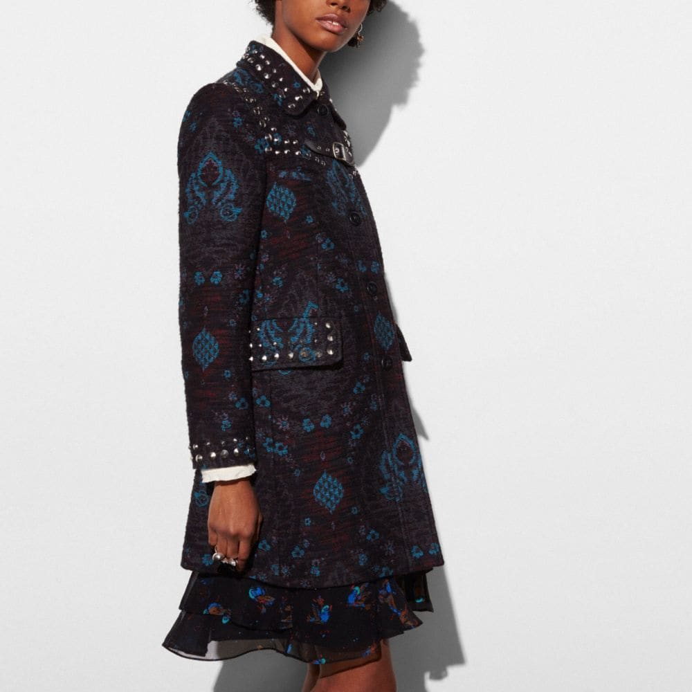 Coach Studded Tapestry Coat