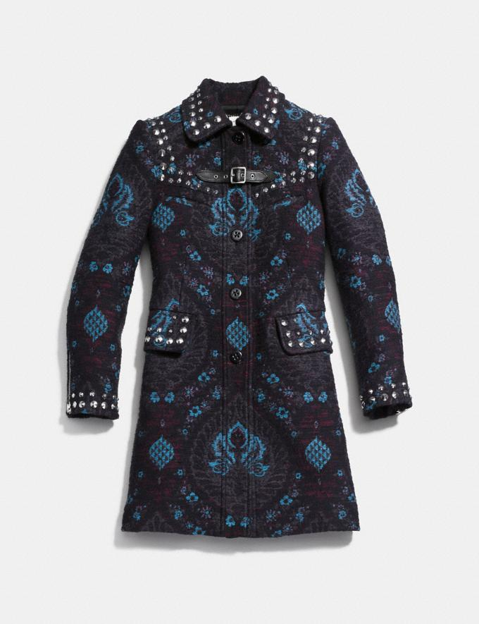 Coach Studded Tapestry Coat Blue Runway Shop Women Ready-to-Wear Alternate View 1