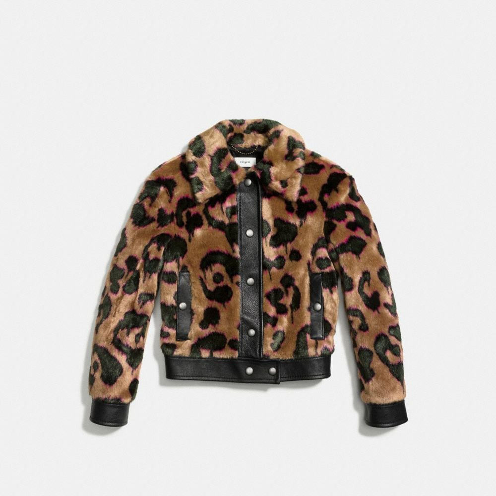 Coach Wild Beast Faux Fur Jacket Alternate View 1