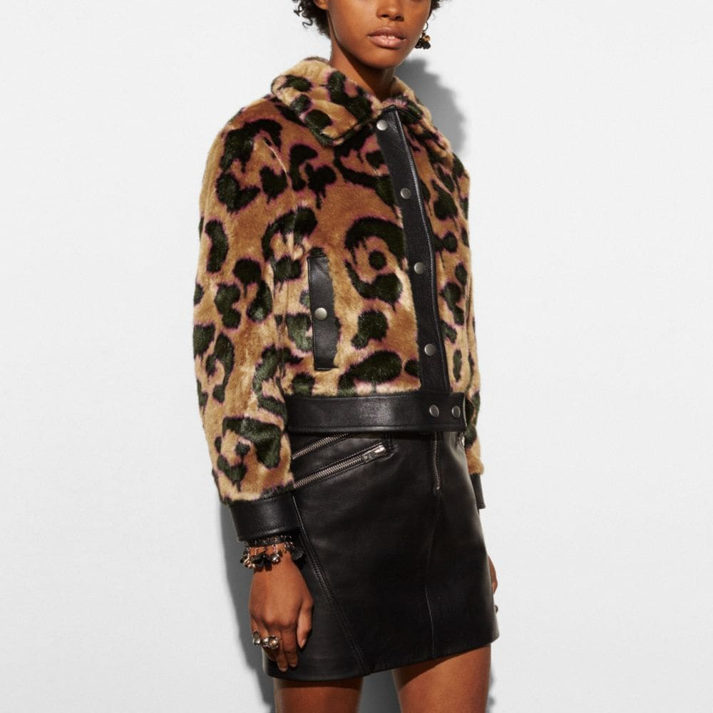 Coach Wild Beast Faux Fur Jacket Alternate View 2
