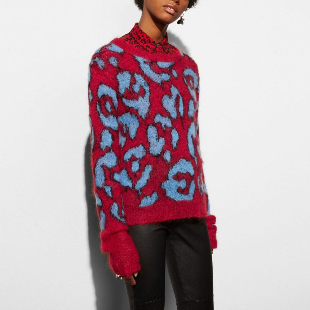 Coach Wild Beast Intarsia V-Neck Sweater