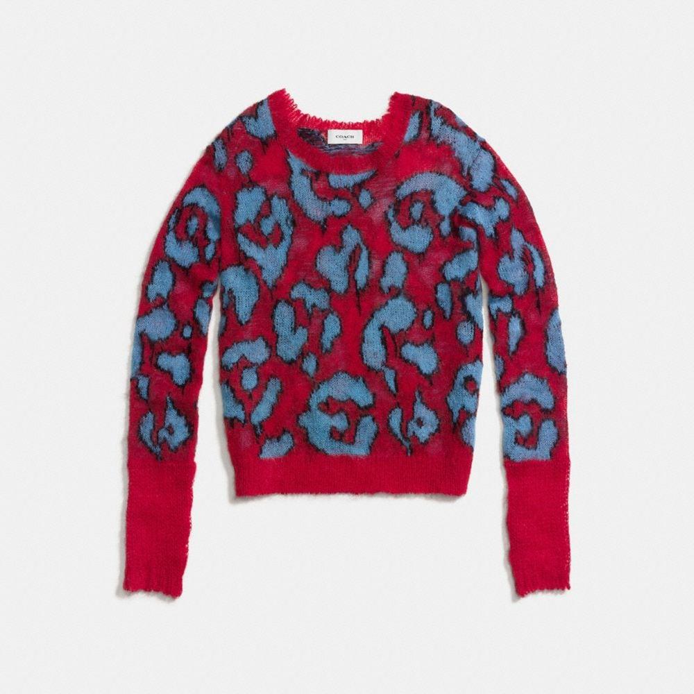 Coach Wild Beast Intarsia V-Neck Sweater Alternate View 1