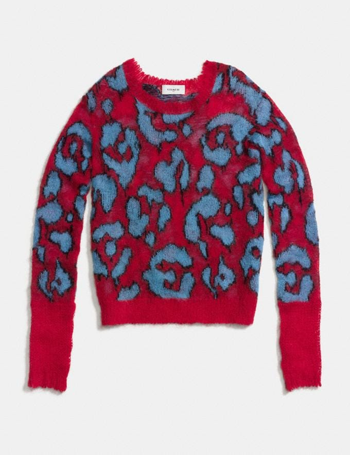 Coach Wild Beast Intarsia V-Neck Sweater Red Women Ready-to-Wear Tops Alternate View 1