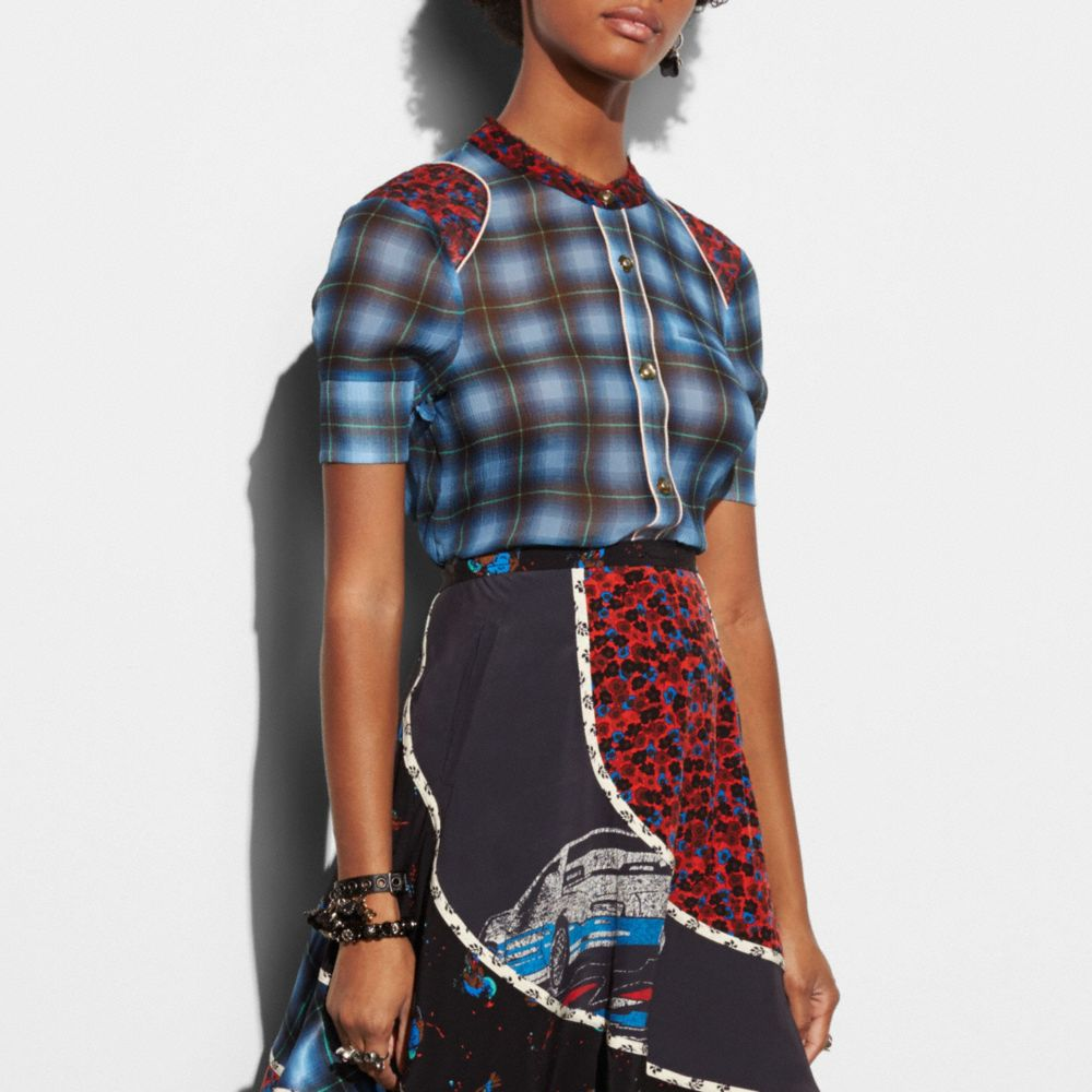 Plaid Piped Blouse