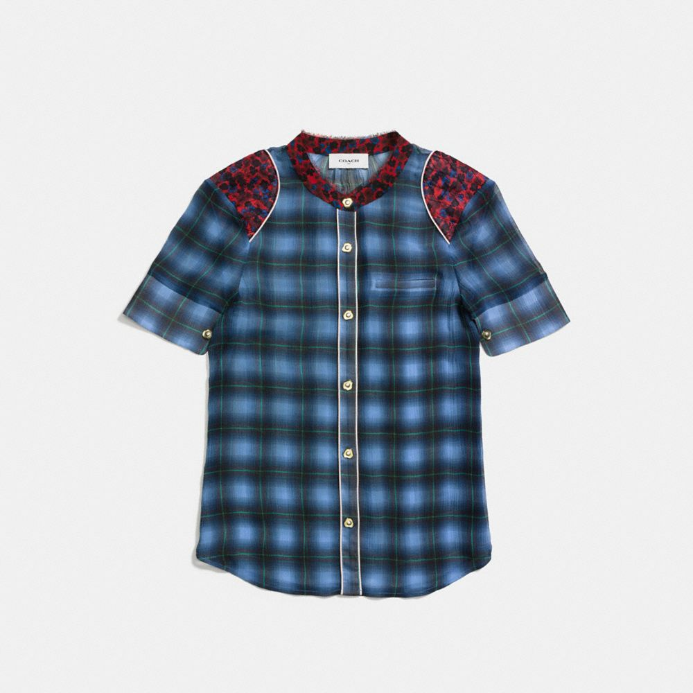 Coach Plaid Piped Blouse Alternate View 1