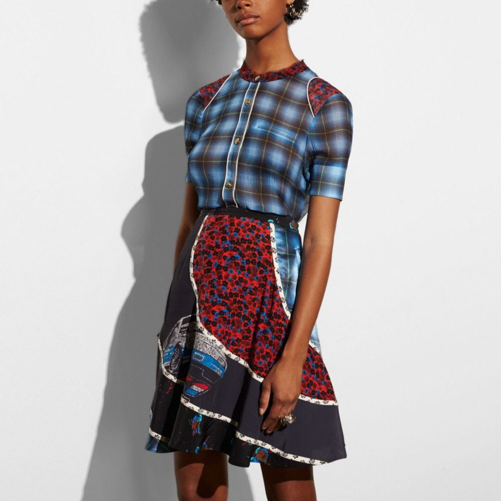 Plaid Piped Blouse - Alternate View M1