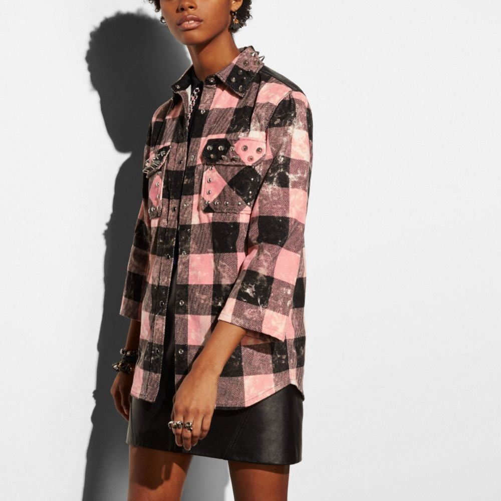 Coach Stud Plaid Shirt