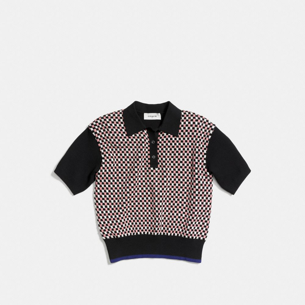 Coach Plaid Polo Sweater Alternate View 1