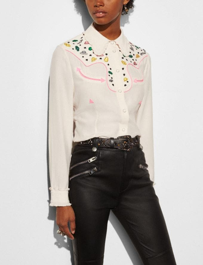 Coach Western Shirt With Embellishment Natural Runway Shop Women Ready-to-Wear