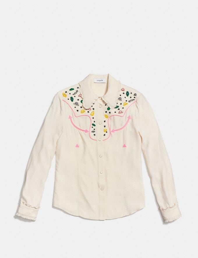 Coach Western Shirt With Embellishment Natural Runway Shop Women Ready-to-Wear Alternate View 1