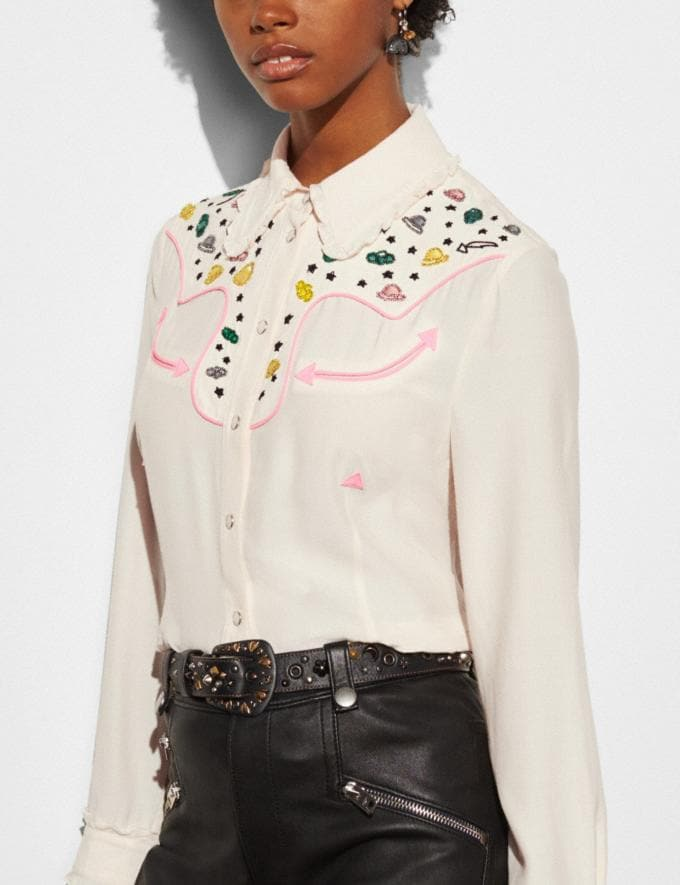 Coach Western Shirt With Embellishment Natural Runway Shop Women Ready-to-Wear Alternate View 2