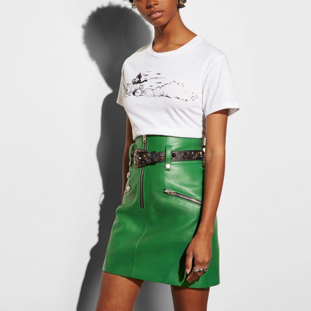 High Waisted Moto Skirt