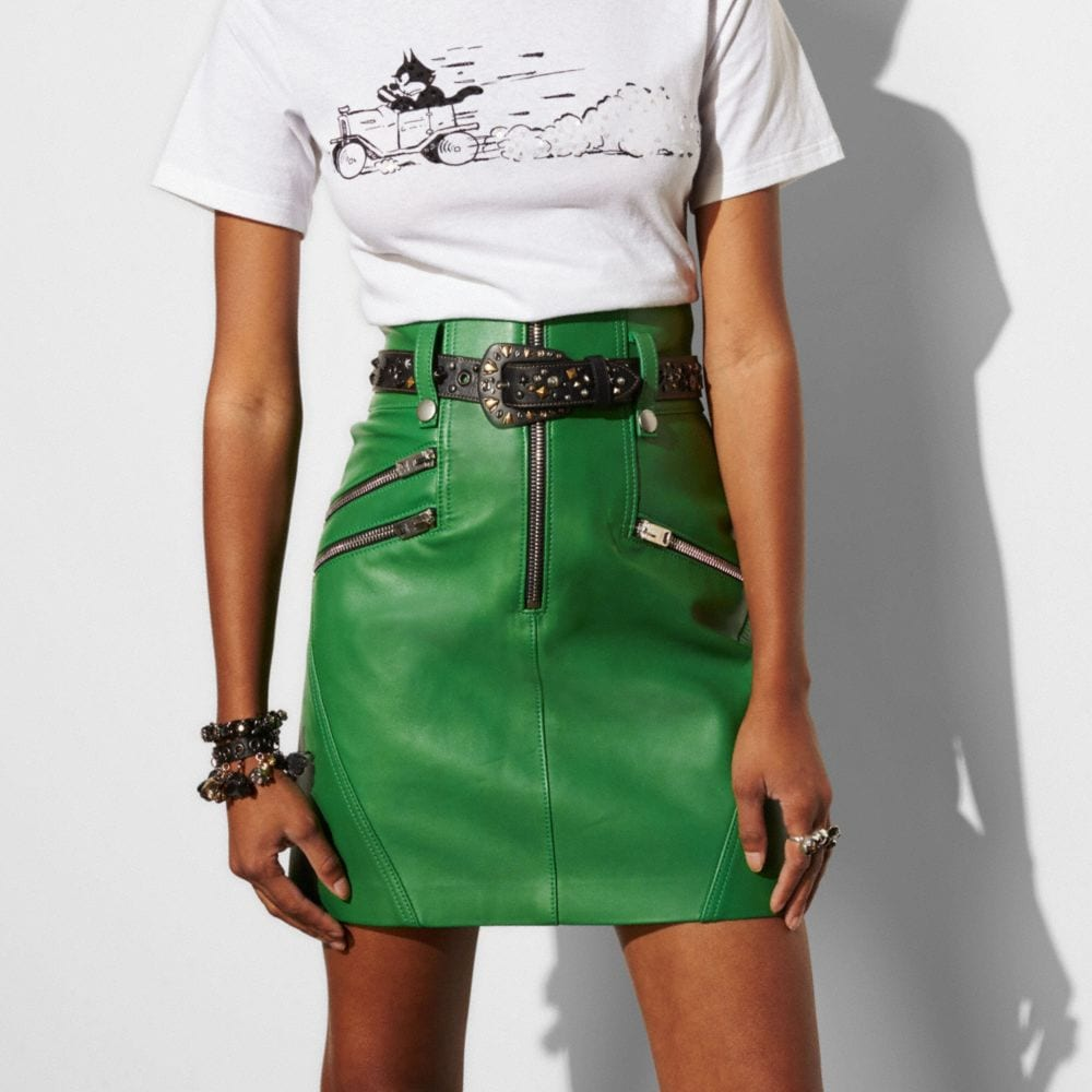 High Waisted Moto Skirt - Alternate View M