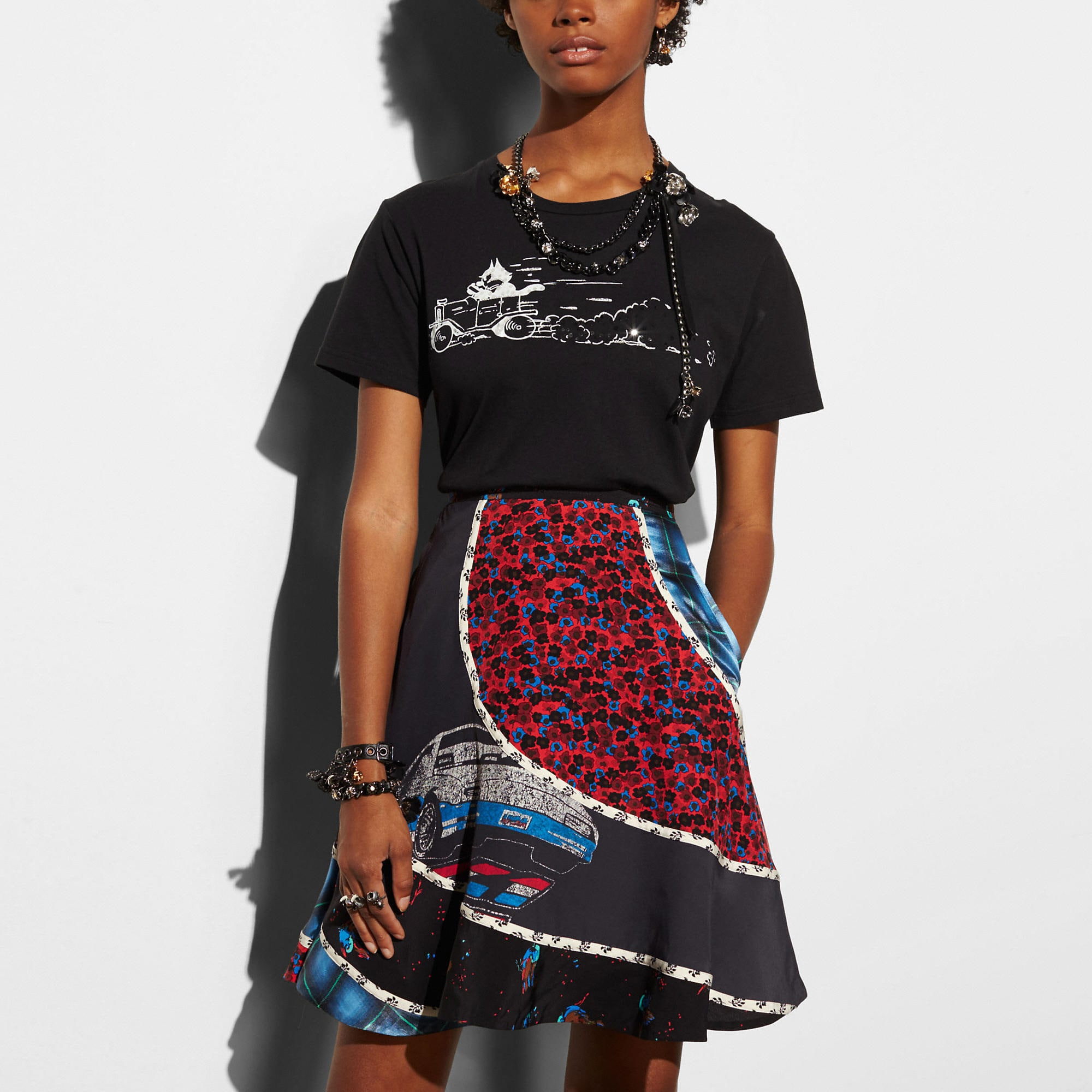 Coach Car Circular Patchwork Skirt