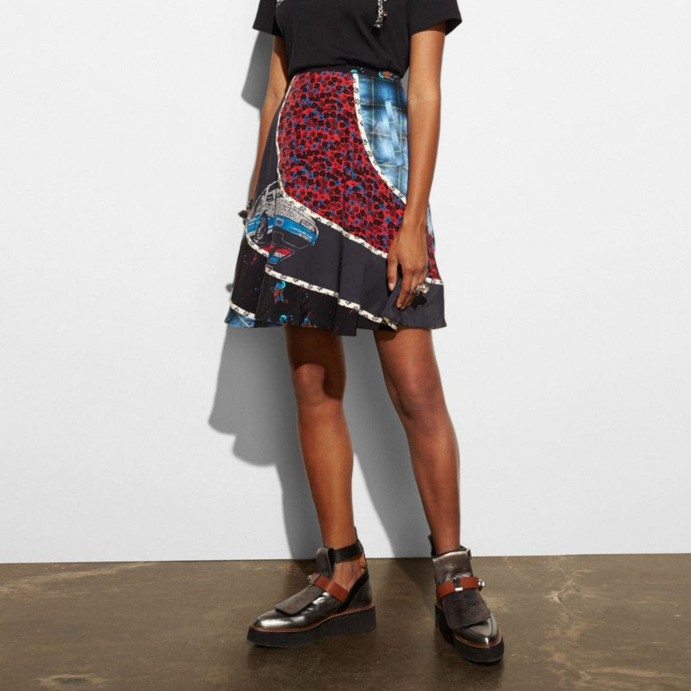 Car Circular Patchwork Skirt - Alternate View M1