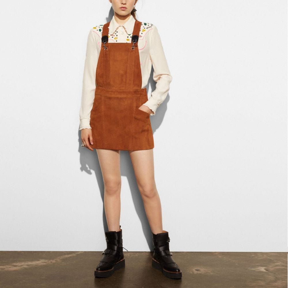 SUEDE PINAFORE DRESS