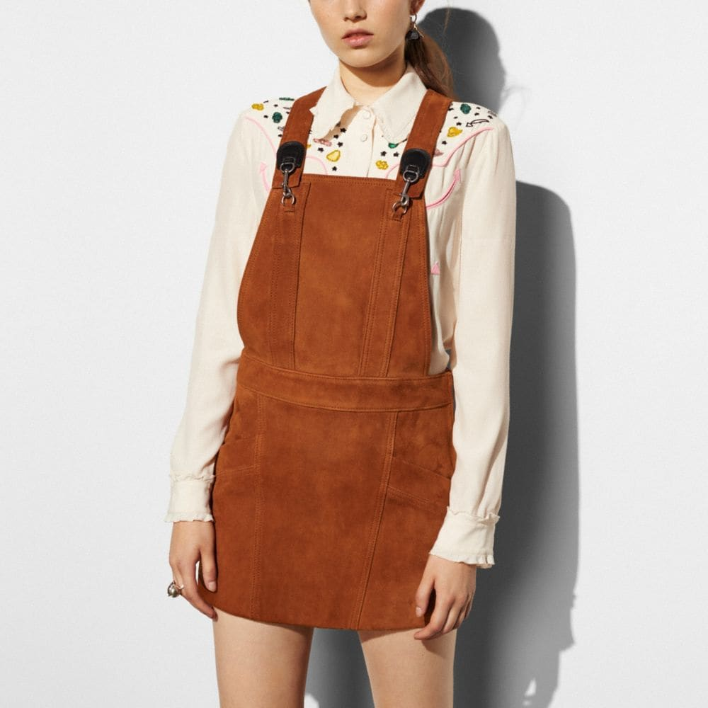 Suede Pinafore Dress - Alternate View M