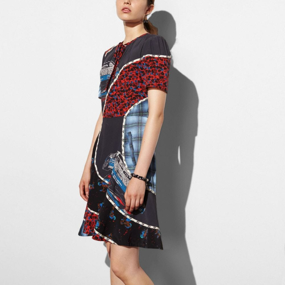 Coach Car Print Circular Patchwork Dress