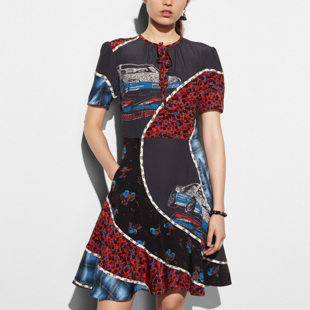Car Print Circular Patchwork Dress - Alternate View M