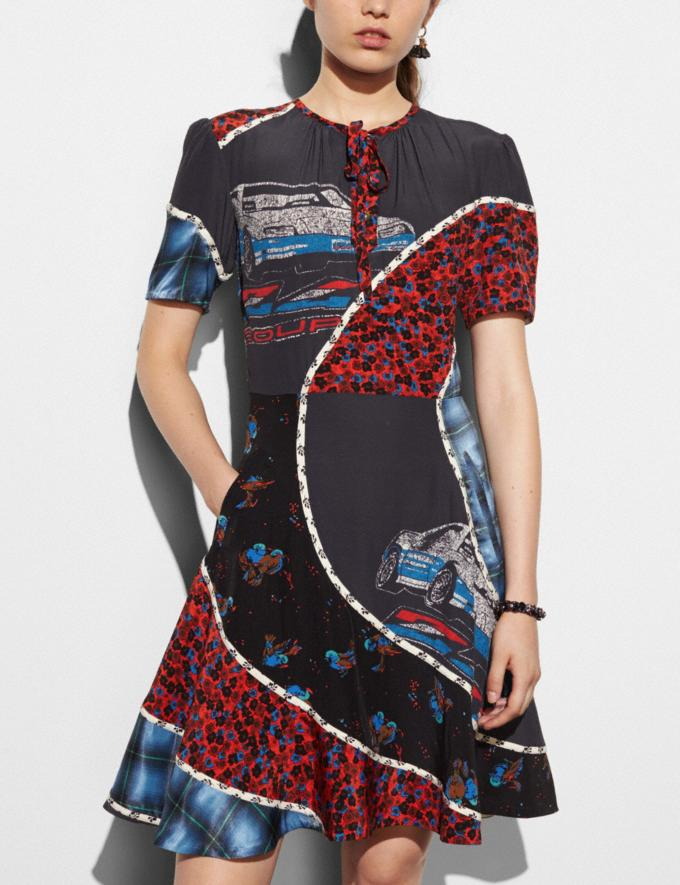 Coach Car Print Circular Patchwork Dress Multicolor Runway Shop Women Ready-to-Wear Alternate View 2