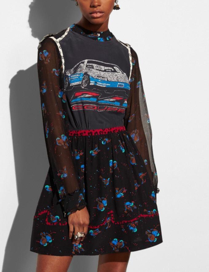 Coach Car Patchwork Print Dress Black Runway Shop Women Ready-to-Wear