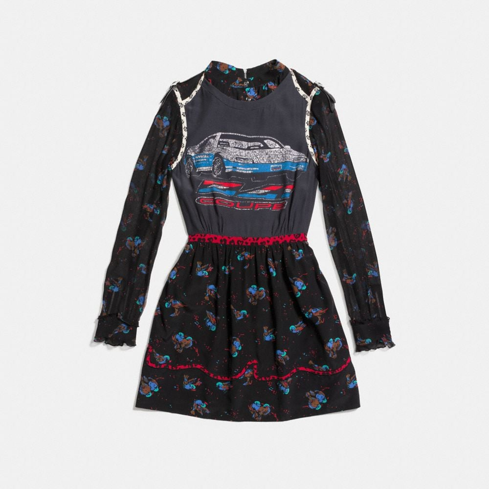 Coach Car Patchwork Print Dress Alternate View 1