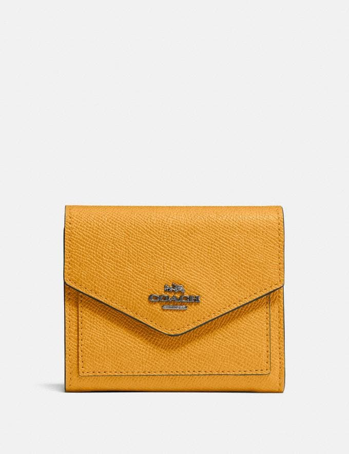 Coach Small Wallet Gunmetal/Dark Mustard Gifts For Her Under $100