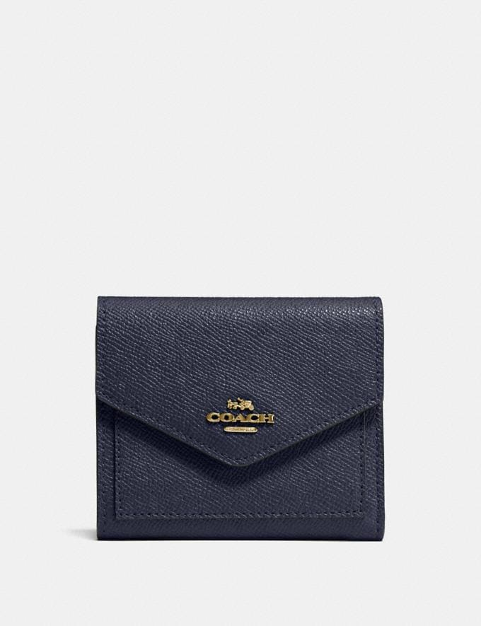 Coach Small Wallet Navy/Light Gold CYBER MONDAY SALE Women's Sale Wallets & Wristlets