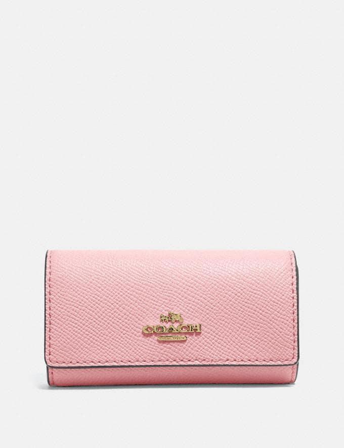 Coach Six Ring Key Case Blossom/Gold Women Wallets & Wristlets Small Wallets