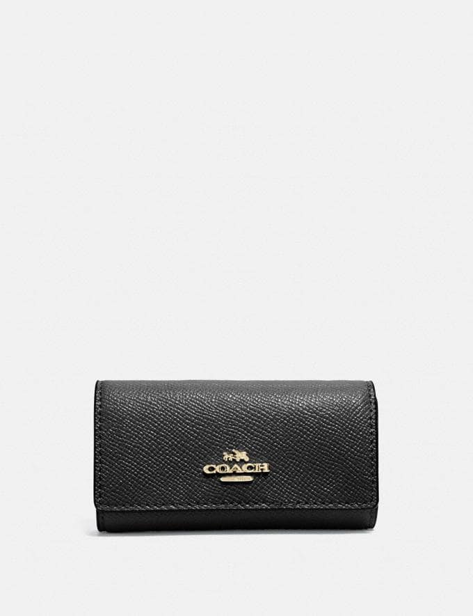Coach Six Ring Key Case Black/Light Gold Gifts For Her
